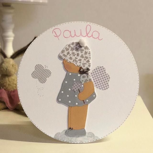 placa puerta infantil personalizada  -HADA - GRIS Y ROSA