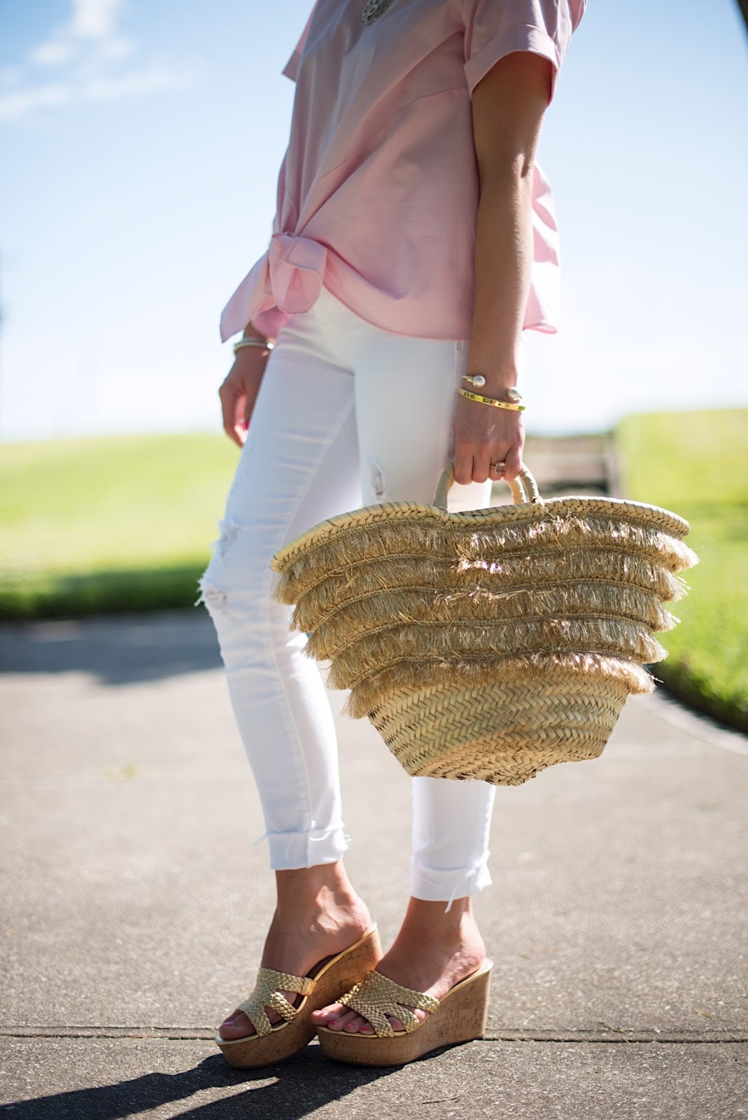 Gold Fringe Straw Bag - Click through to see more on Something Delightful Blog!