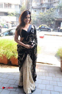 Actress Neetu Chandra Stills in Black Saree at Designer Sandhya Singh's Store Launch  0038.jpg