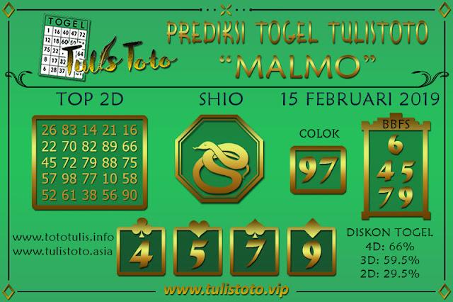 Prediksi Togel MALMO TULISTOTO 15 FEBRUARI 2019