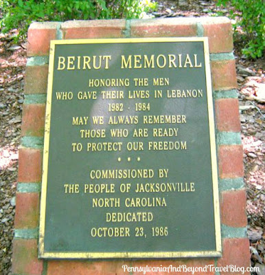 The Beirut Memorial at Lejeune Memorial Gardens in Jacksonville North Carolina