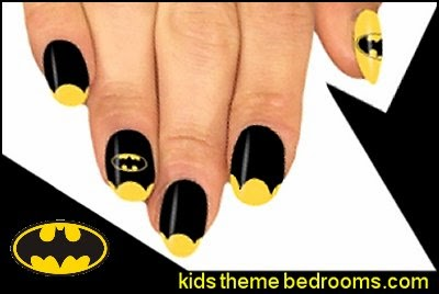 batman themed nails - batman nail stickers