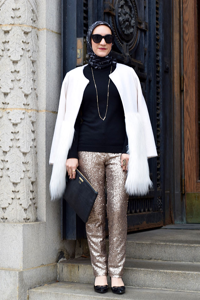 Ann Taylor Sequin Pants - New Year's Eve Outfit Inspiration - Glitter Pants - Modest NYE Look - Fashion Blogger - Haute Hijab - Gold Pants - NYE Look