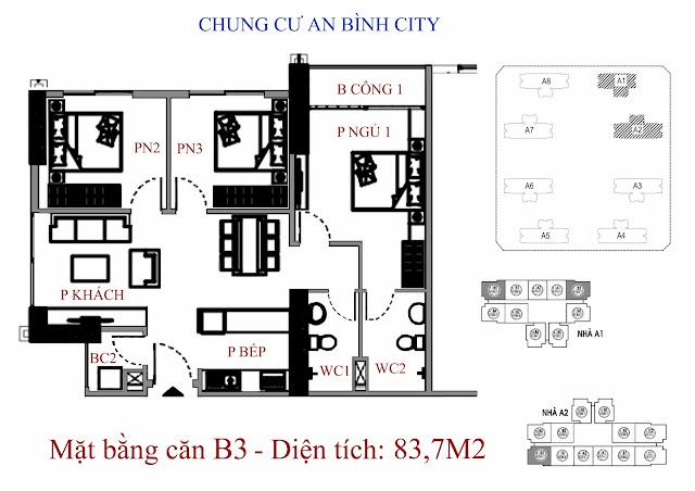 căn hộ B3 diện tích 83,7m2