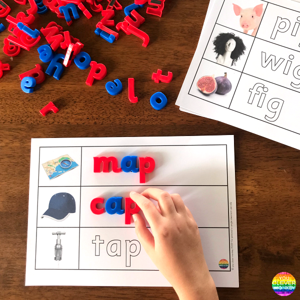 CVC Word Family Mats | you clever monkey