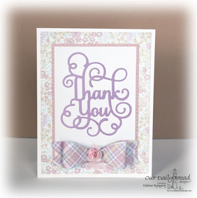 Our Daily Bread Designs Custom Dies: Flourished Star Pattern, Thank You, Medium Bow, Double Stitched Rectangles, Rectangles, Our Daily Bread Designs Paper Collection: Easter Card 2016