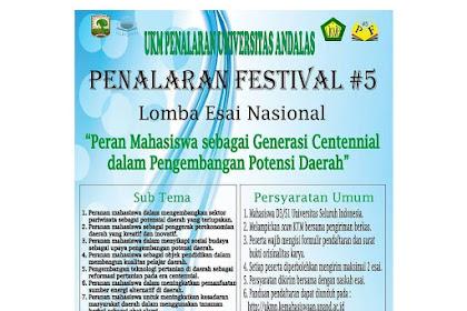 Lomba Esai Nasional Penalaran Festival #5 2019 Mahasiswa