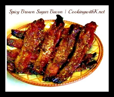 Spicy Brown Sugar Bacon is a mixture of cayenne pepper, brown sugar topping sprinkled over strips of bacon in a single layer and baked.