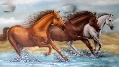 Konie w galopie, obraz olejny, malarstwo ścienne, malowanie na ścianie koni, mural ścienny, rysunek koni na ścianie