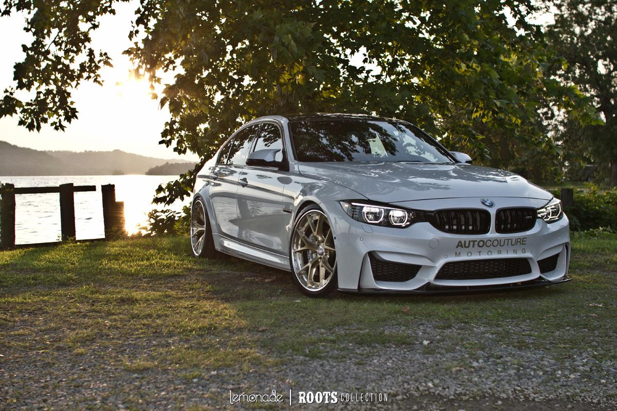 Soulsteer Com White Bmw F80 M3 Compact Car Sits On Brushed Gold Hre