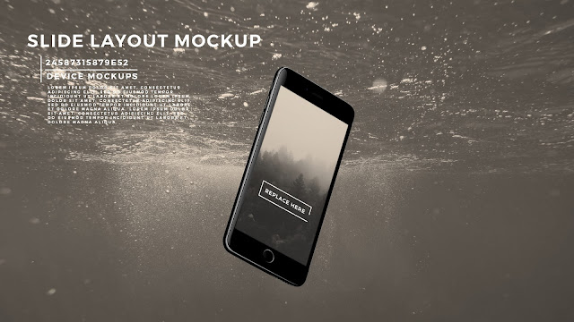 Perspective iPhone 7 Slide Mockup PowerPoint Template with Background