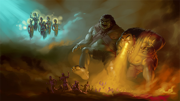 devastating rakhshas gods praying digital painting mythology illustrations