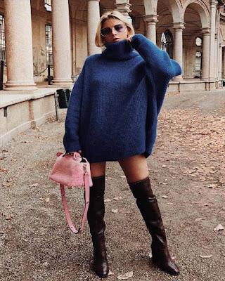 outfit tumblr juvenil con botas de caña extra alta