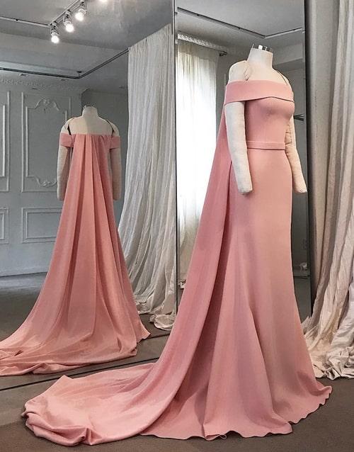 vestido longo rose com capa