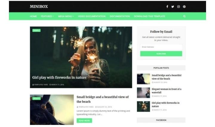 Minibox FREE Blog Template