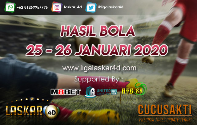 HASIL BOLA JITU TANGGAL 25 – 26 JANUARI 2020