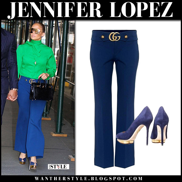 Jennifer Lopez in green blouse and blue trousers gucci chic street fashion august 14