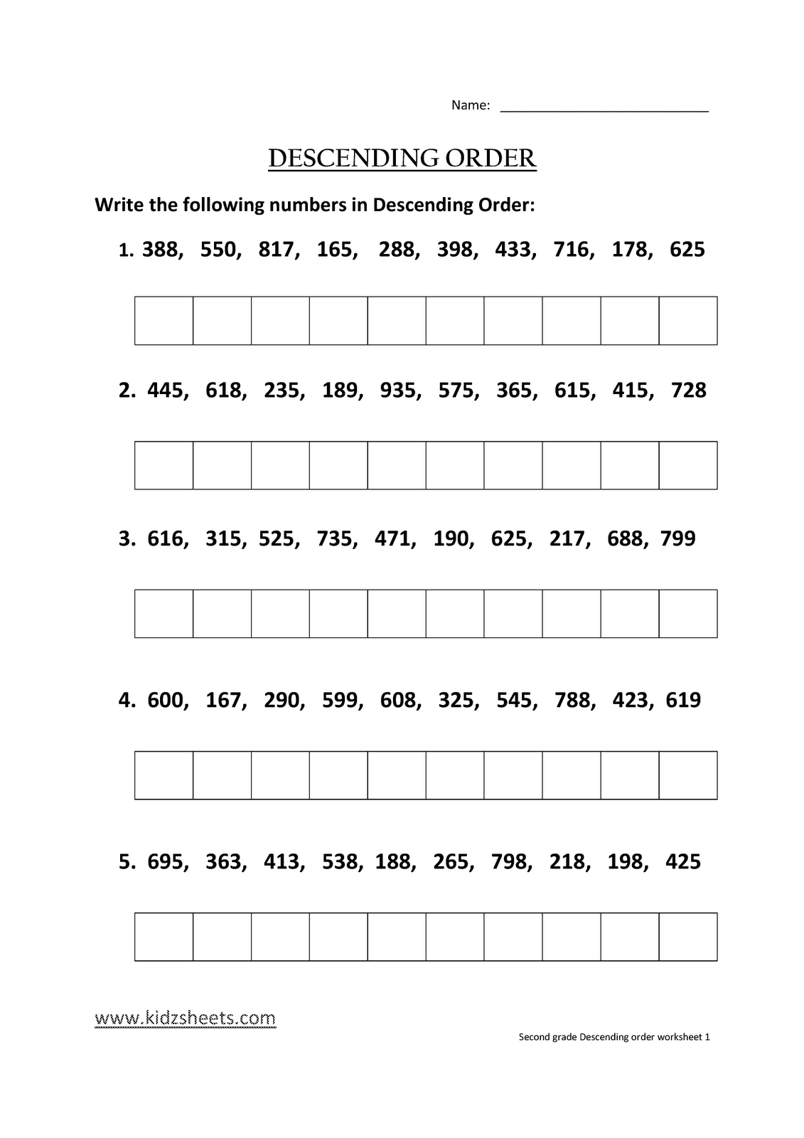 Kidz Worksheets Second Grade Descending Order Worksheet1