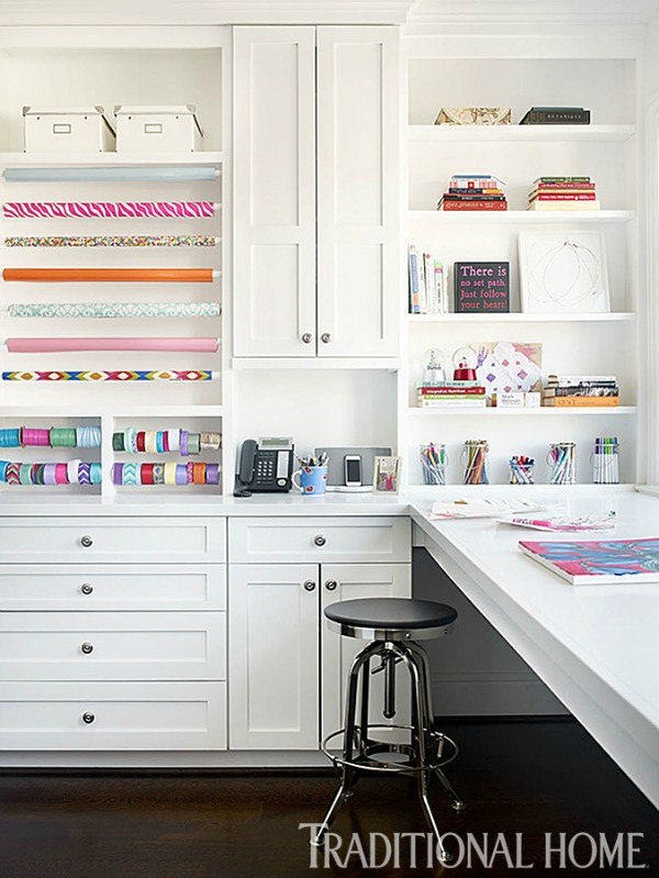 7. Brilliant Built-ins: This bright space just invites creativity. Many great projects are waiting to happen here!