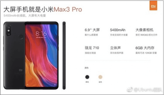 Xiaomi Mi Max 3 Pro Specs and Features