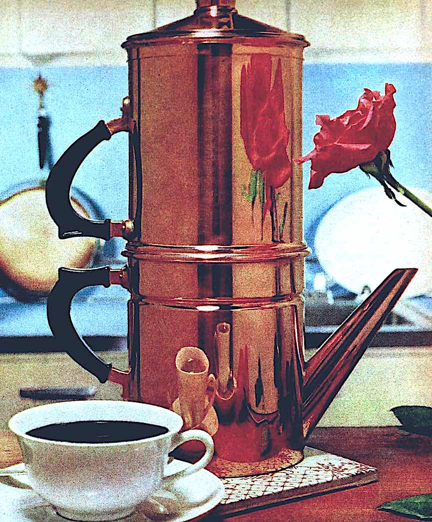 a 1960s copper coffee pot from a magazine advertisement