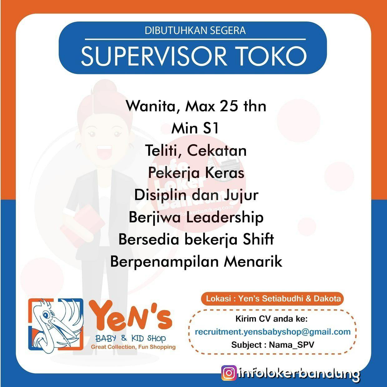 Lowongan Kerja Supervisor Toko Yens Baby & Kid Shop Bandung Februari 2019
