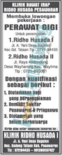 Karir Lampung di Klinik Ridho Husada I Pesawaran Terbaru Juni 2016
