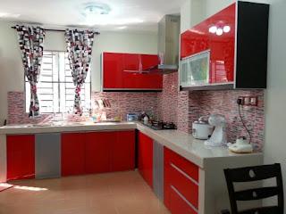 Koleksi Dapur Minimalis Warna Merah Nampak