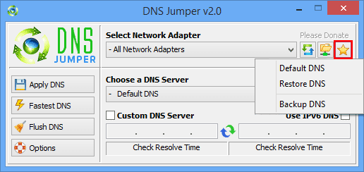 dns jumper backup restore dns