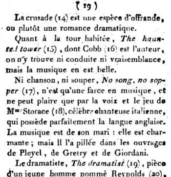 Georg Foster Voyage pittoresque en Angleterre 1790 : opinion sur Stephen Storace