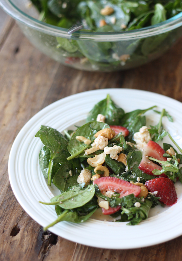 Strawberry Spinach Salad with Japanese Seven Spice Vinaigrette by SeasonWithSpice.com