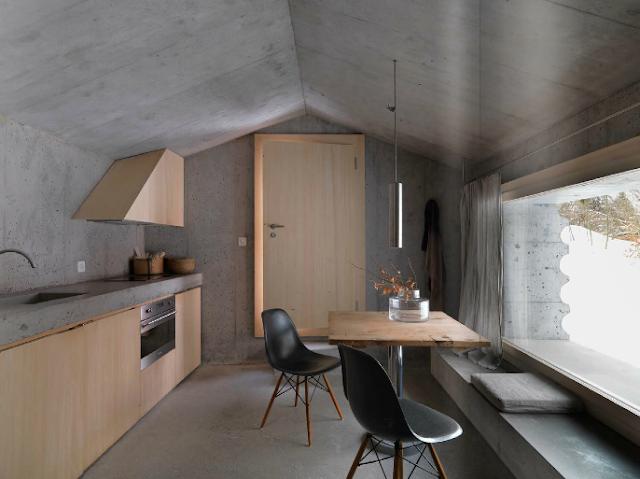 кухня столовая в бетонном доме