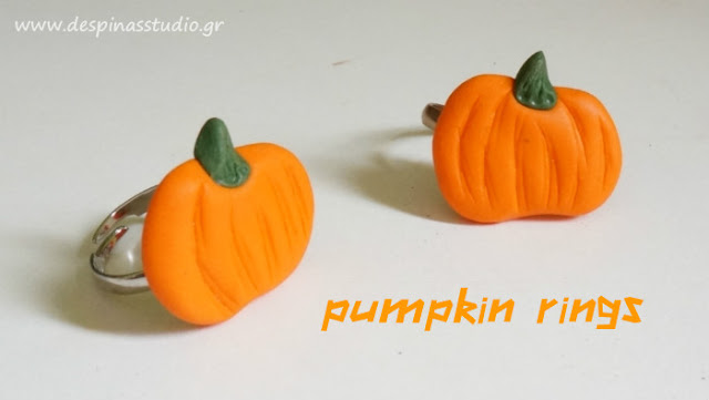 Polymer clay pumpkin rings