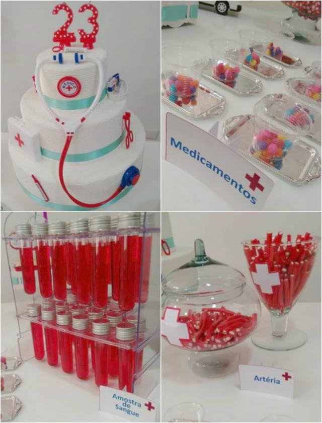 Blog Fernanda Pinaud Ideias criativas para aniversário de médico -> Decoração Festa Enfermeiro