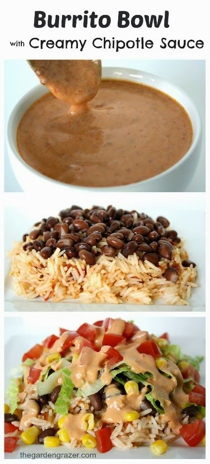 Burrito Bowl with Creamy Chipotle Sauce #burrito #burritobowl #creamy #chipotlesauce #vegetarianrecipes