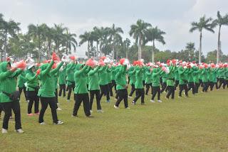 Sukseskan Pemecahan Rekor Muri Senam Gemu Famire, Korem 071/Wk  Latihan Bersama Komponen Masyarakat
