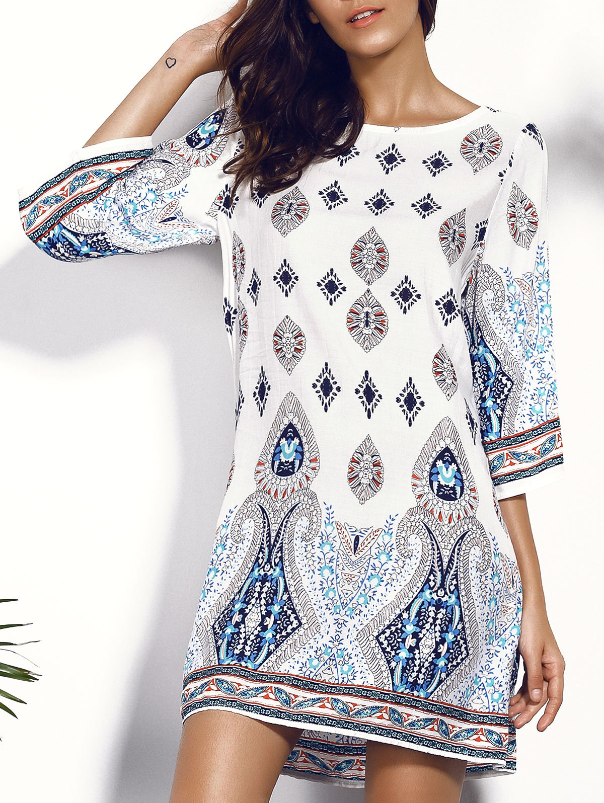 Backless Printed Chiffon Shift Dress