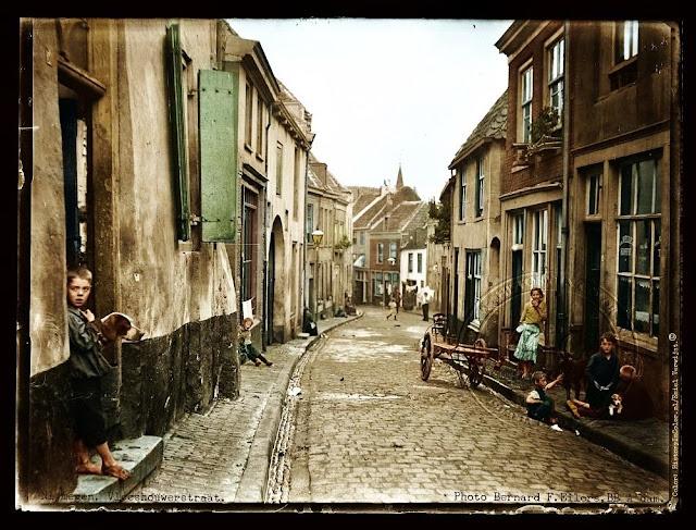 Ingekleurde foto Nijmegen, Vleeshouwerstraat