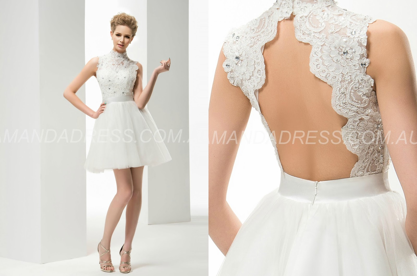 Short/Mini Appliques Backless All Sizes Chic & Modern Summer Natural A-line Wedding Dress