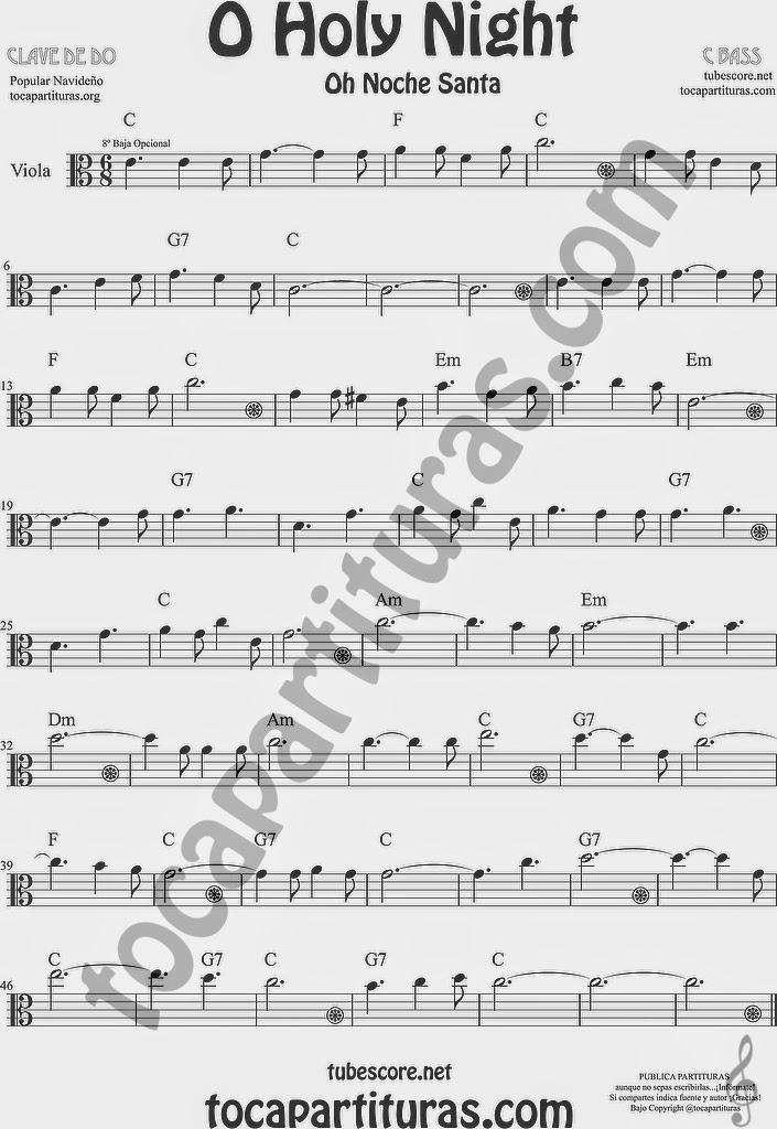 O Holy Night Partitura de Viola Sheet Music for Viola Music Score Oh Noche Santa