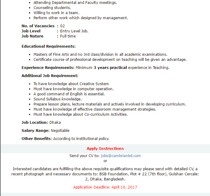 Cambrian School & College - Asst  Teacher/ Sr  Teacher (Fine