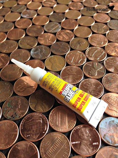 superglue on a penny background