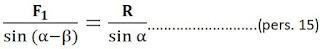 penurunan rumus sinus untuk arah vektor resultan