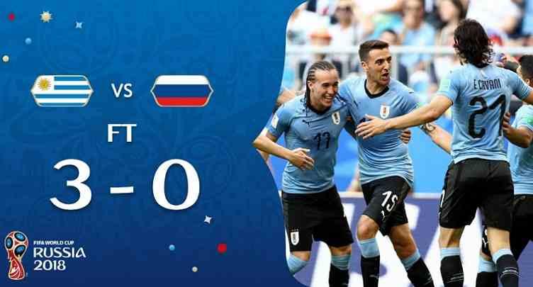 Hasil Uruguay vs Russia Skor Akhir 3-0   Fase Group A World Cup 2018