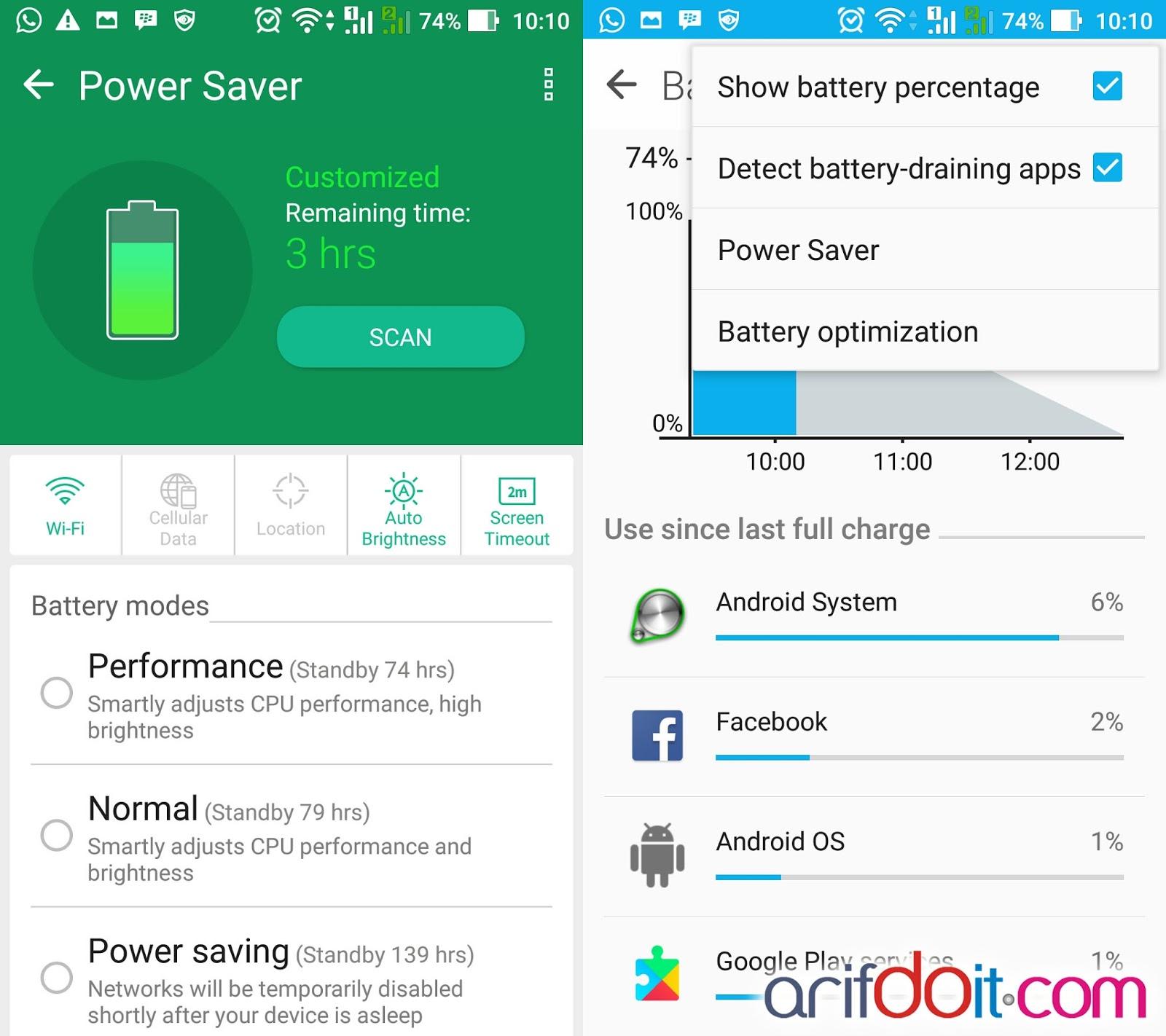 Menu Power saver dan battery
