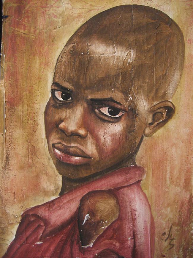 Niño negro en acuarela