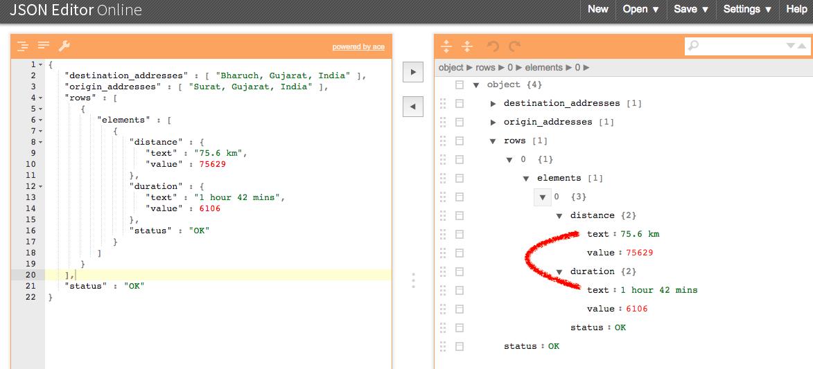 I2swift coding : Google Maps Distance Matrix API in swift