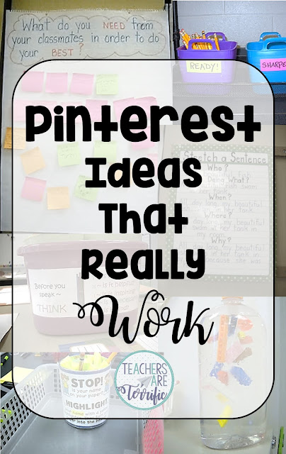 Pinterest ideas that really work in the classroom! Take a look at these ideas and tips for elementary classrooms. You just might find a trick or two that will work for you!