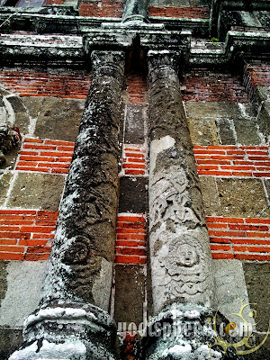 Old Spanish Church Architecture: Two greek pillar with inscripted cherubim designs
