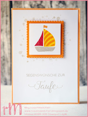Stampin' Up! rosa Mädchen Kulmbach: Taufkarten mit Segensfeste, Swirly Bird, Framelits Stickmuster und Lagenweise Kreise